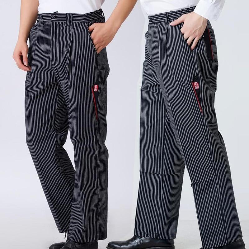 Men Chef Food Service Loose Trousers Striped Kitchen Work Wear Restaurant Uniform Male Wide Leg Business Cook Pants Maxi Bottoms