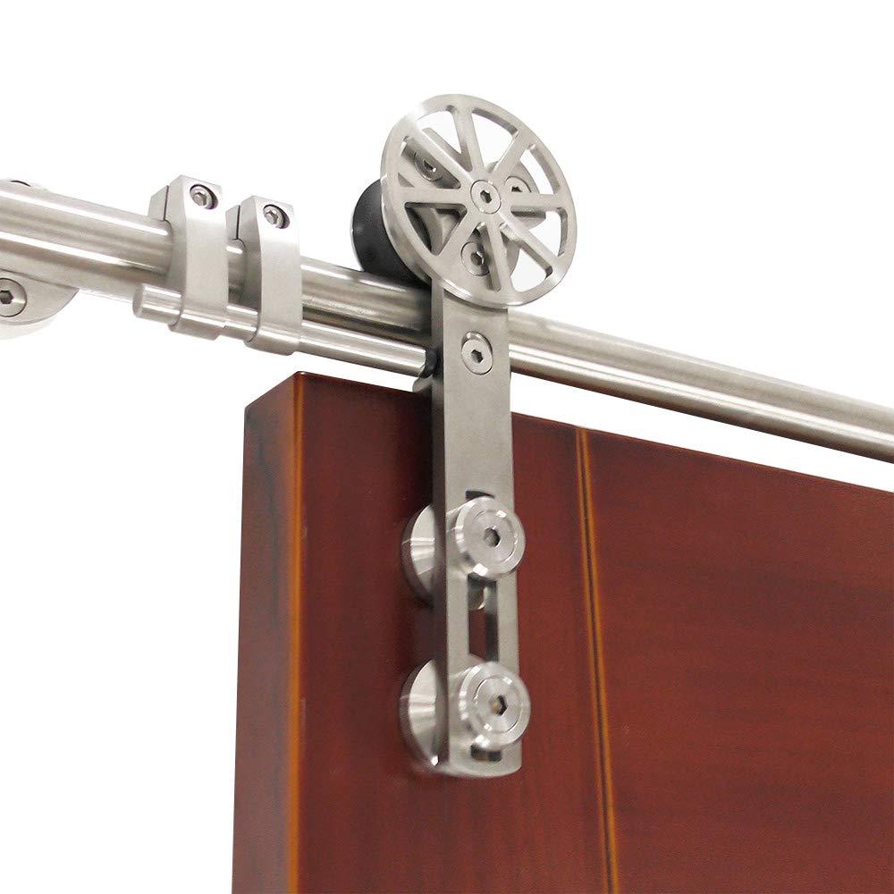 DIYHD Stainless Steel Brushed Rotatable Spoke Wheel Sliding Barn Wood Door Hardware