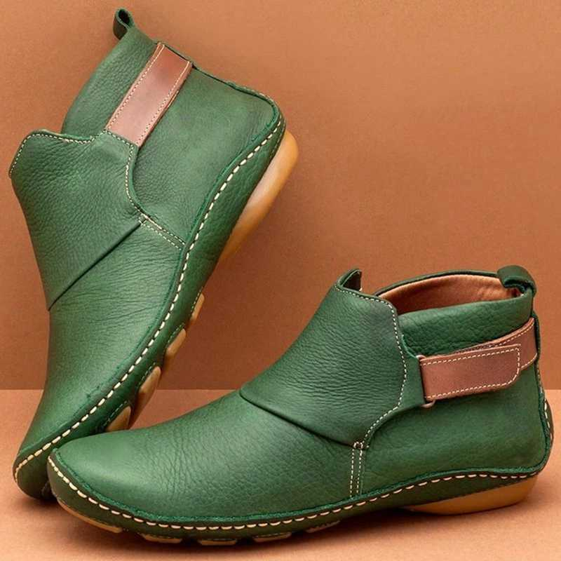 Women Casual Comfy Daily Adjustable Soft Leather Booties Soft Autumn Shoe PU Leather Boots Female Ankle Boots for Women Dropship