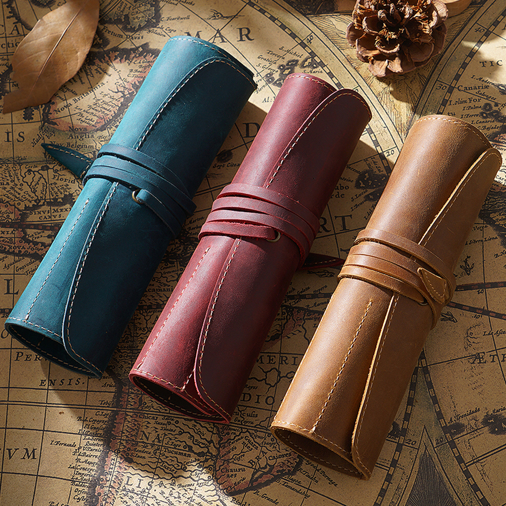 100% Genuine Leather Pencil Bag Storage Pouch Rollup Pen Bag Organizer Wrap Bag Vintage Retro Creative Stationery Product
