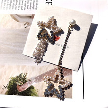 925 Silver Needle Exaggerated Asymmetric Pearl Star S925 Tassel Long Earrings Temperament Dangle
