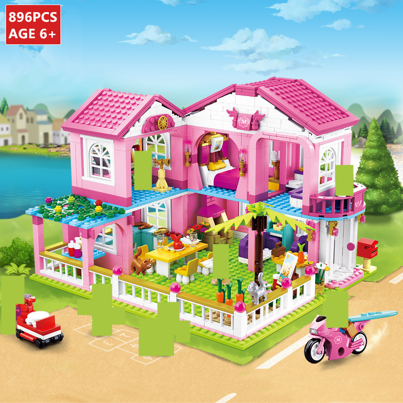 City House Big Garden Villa Building Blocks Castle Yacht Friends Princess LegoINGLs Figures Bricks Educational Toys For Girls