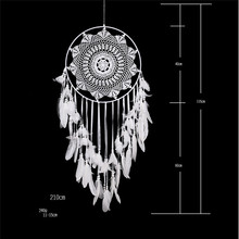 40cm large dream catcher white handmade hook flower feather ornaments fresh fairy style home decoration wall hanging wind chimes 1pc original design handmade crafts dream catcher pendant ornaments kindergarten decoration wall hanging home decor wind chimes