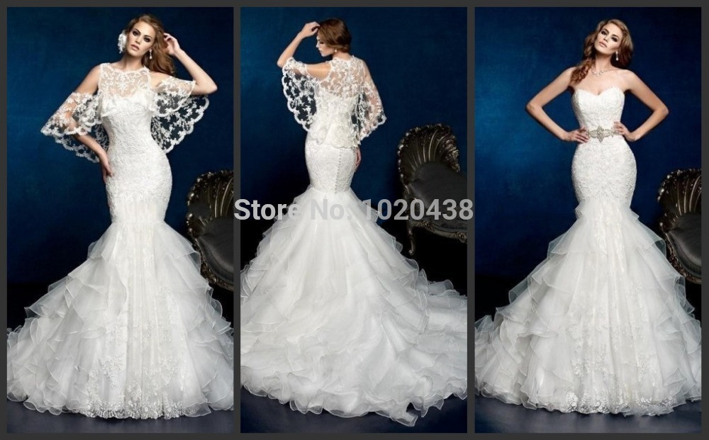 2018 Arrival Mermaid Sheer Applique Lace Jacket Ruffles Layered Long Bridal Gown Vestido De Noiva Mother Of The Bride Dresses
