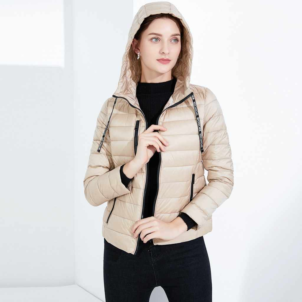 2019 Winter Lightweight Down Jacket Women Solid Red Black Goose Down Coats For Female Undetachable Hooded Collar Coat Lady 9.10