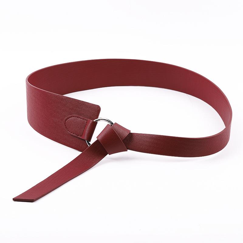 New Wide PU Leather Corset Belt Female Tie Obi Thin Red Black Bow Leisure Belt for Ladides Wedding Dress Waistband Women's Belts