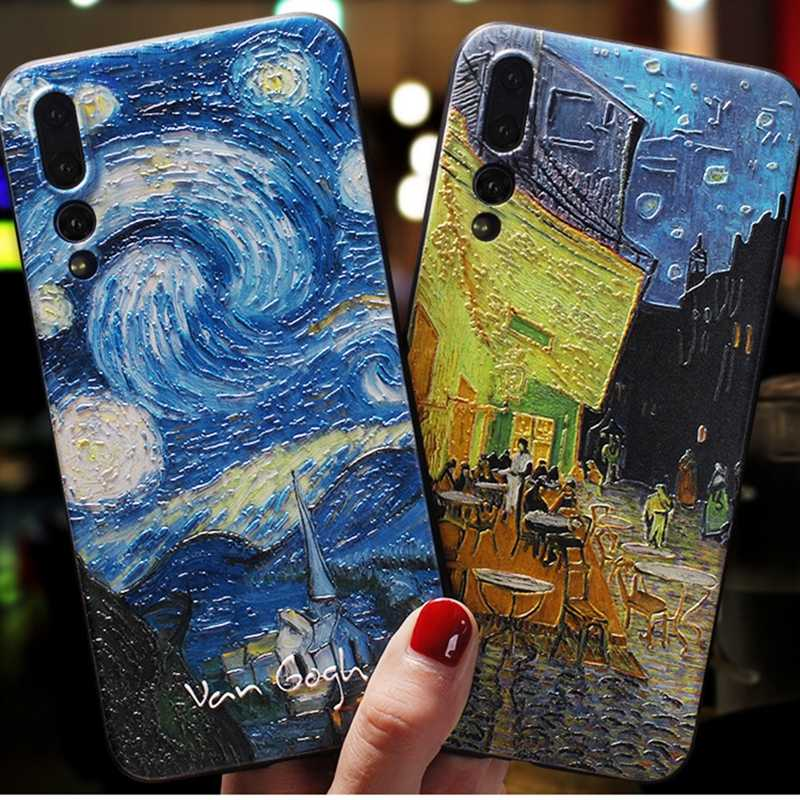 HTMOTXY 3D Emboss Space Case สำหรับ Huawei P30 P20 P10 Mate 10 20 30 Lite Pro 20X Nova 3i 2S Honor 20 Pro 20i TPU Matte COVER