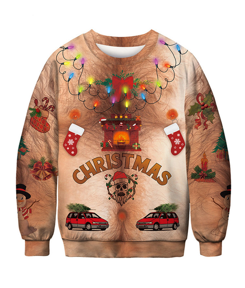 New Funny Ugly Christmas Sweater Unisex Men Women Vacation Chest Hair Pullover Sweaters Jumpers Tops Autumn Winter Clothing