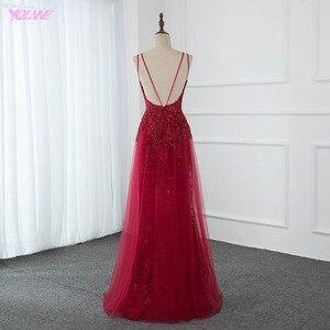 Image 2 - مثير أحمر بلينغ طويل مساء فستان سهرة لحفلات كريستال مطرز عميق الخامس الرقبة تول عارية الذراعين فساتين راقية YQLNNE
