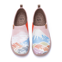 UIN Shoes Woman Loafer Spring in Mount Fuji Design Art Painted Shoes Wide Feet Comfort Shoes Ladies Soft Ladies Shoe Lightweight