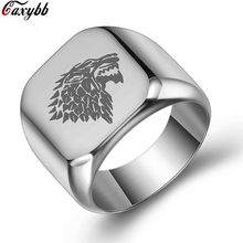 stainless steel men movie style game of thrones fashion popular ring ice wolf men titanium steel jewelry(China)