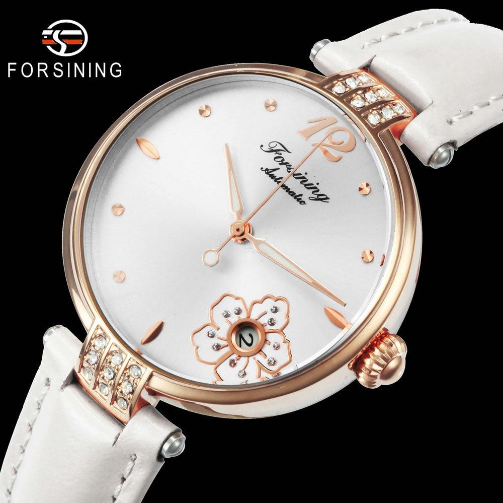 FORSINING Royal Simple Automatic Mechanical Watch Women Diamond Flowers Clock Genuine Leather Band Luminous Hands Wristwatches