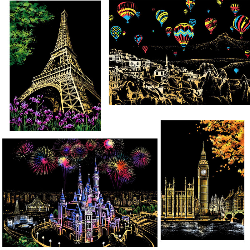 41*28 Cm Magic Scratch Art Crafts World Landscape Scraping Paintings Paper Adult Decompression Toys Kids Toys Creative DIY Gifts