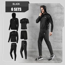 Men Sportswear Compression Sport Suits Quick Dry Running 6 Sets Clothes Sports Training Gym Fitness Tracksuits Running Set(China)