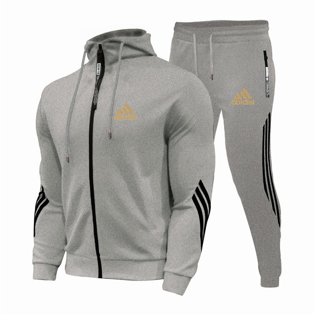 2021Spring And Autumn Brand Fashion Men's Sets Two-piece Striped Sportswear Men's Hooded Top Outdoor Sports Pants Tracksuit Suit 6
