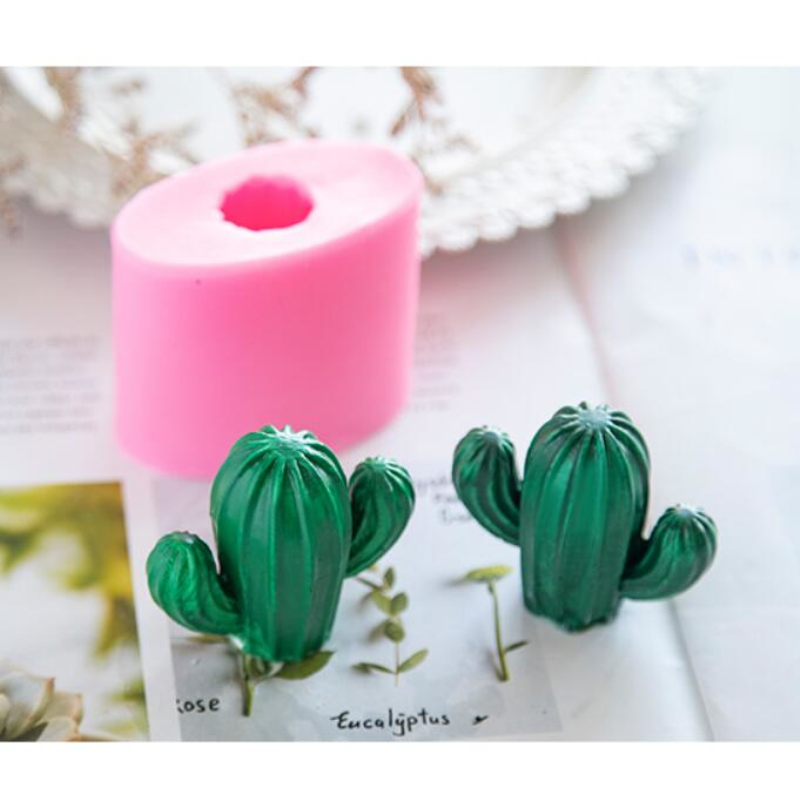 3D Cactus Tree Shape Cake Baking Mould Silicone Candle Molds DIY Gypsum Aromatherapy Wax Mold Handmade Soap Making Tool