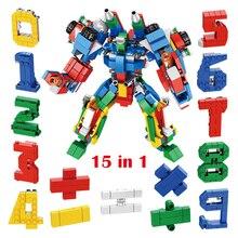 15PCS Transformation Number Robot Educational Toy for Children Assembling Building Blocks Compatible with Figure Bricks 15pcs creative blocks assembling educational blocks action figure transformation number robot deformation robot toy for children