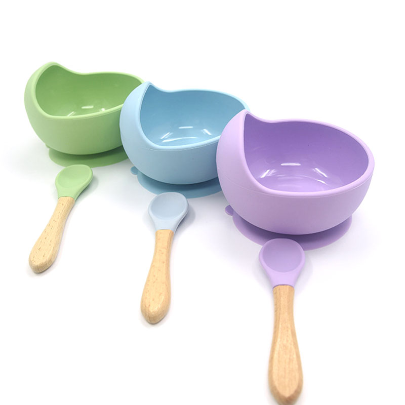 Baby Silicone Tableware Strong Sucker Waterproog Bowl Spoon Set Children Suction Bowl Baby Food Bowl Baby Feeding Tableware