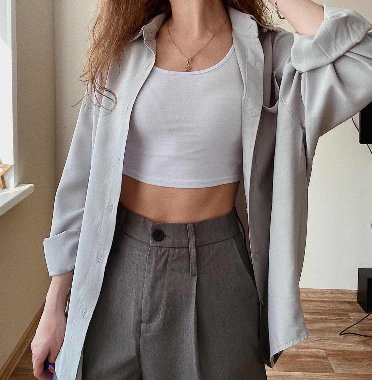 2020 Women Spring Autumn Fashion Basic Silk Cotton Long Sleeve Shirt Boyfriend Shirt Female Blusas Blue Grey White Black