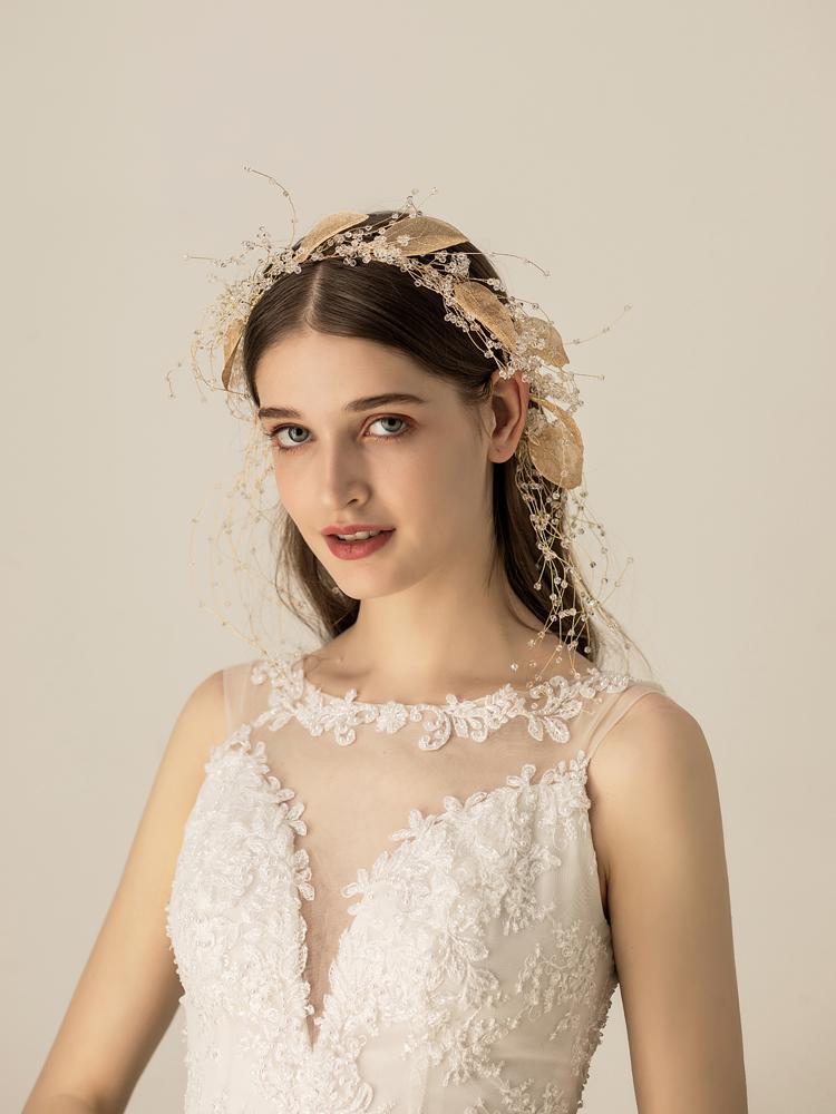 Himstory винтажные повязки на голову с цветами и листьями свадебные аксессуары для волос женские Свадебные тиара на голову вечерние украшения ... - 3