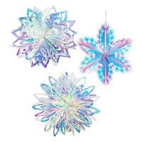 Película de neón para decoración de fiesta de Frozen, adornos navideños para el hogar con copos de nieve en 3D, adornos para árbol, guirnaldas de nieve falsas, decoración de invierno