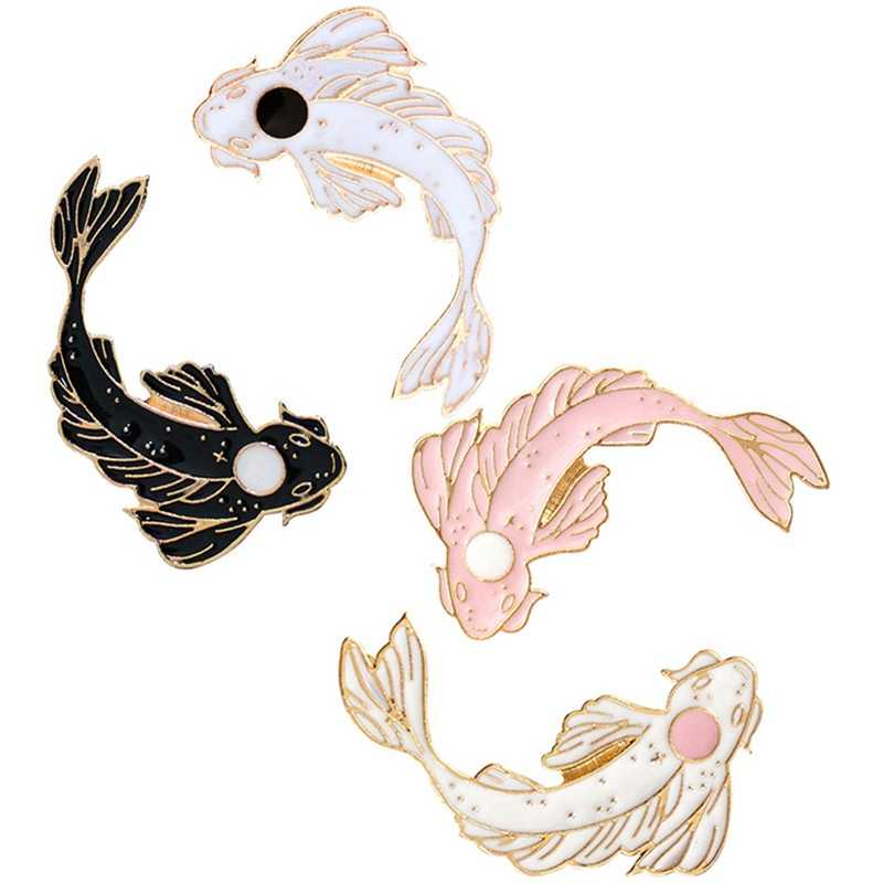 Cute Goldfish Carp Enamel Pin Pink White Black Brooch Denim Lapel Fish Badge Yin Yang Koi Pins Gifts Personality Jewelry