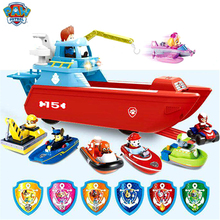 7pcs/set paw patrol dog yacht toy marine rescue boat action figure Patrulla Canina model set childrens gift