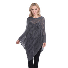 2020 New Brand Summer Pullover Cape Women Hollow flower Knitting Poncho Capes Batwing Sleeves Shawls Sunscreen Solid Cloak