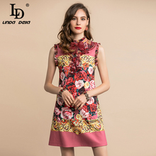 Vintage Dress Crystal Ld Linda Fashion Runway DELLA Floral-Print Ruffles Elegant Autumn