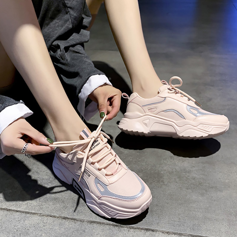 Women's Sports Shoes Woman Platform Sneakers Lace Up Spring Autumn 2020 New Casual Woman Sneakers Comfortable