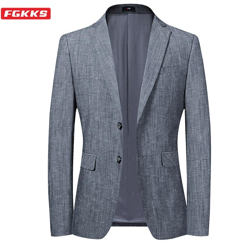 FGKKS Brand Men Blazers Fashion Office Men's Korean Version Wedding  Suit Jacket New Formal Gray Blazer Male