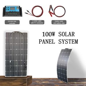 Комплект солнечных батарей 100 Вт 12 В, гибкая Зарядка для аккумулятора, монокристаллическая панель, солнечная система для дома, rv лодки