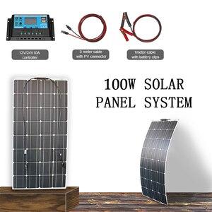 Набор солнечных панелей 100 Вт 12 В гибкое зарядное устройство монокристаллическая панель Солнечная система для дома rv лодка