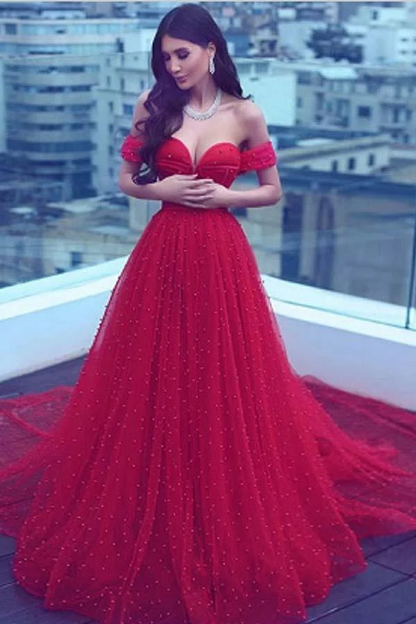 Glamorous Prom Dress Red Tulle Pearl Lace Heart Neck Maxi Dress Prom Dress Multicolor And Tailor Made