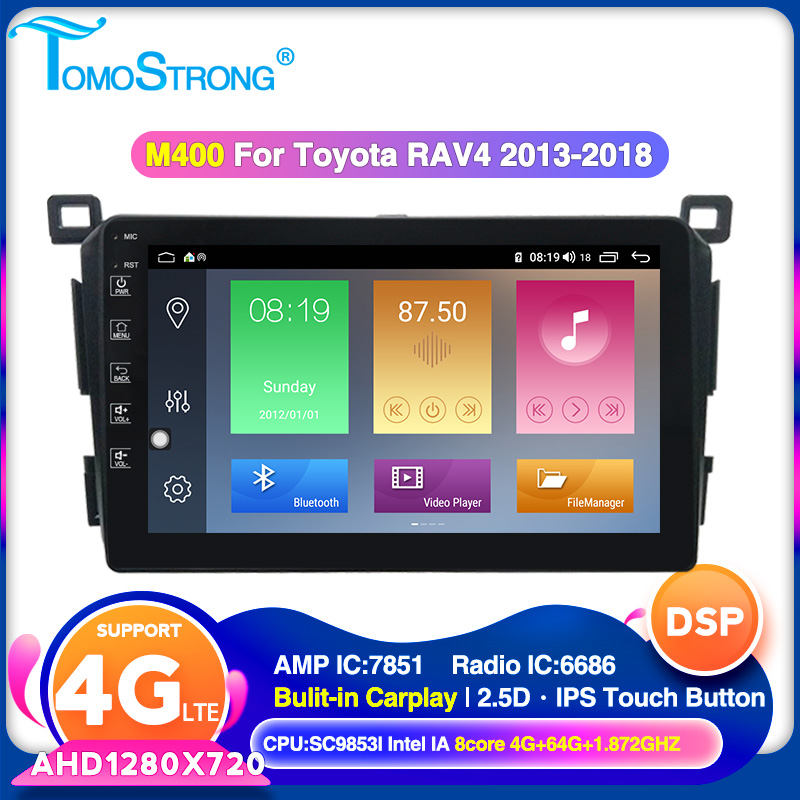 TOMOSTRONG Android 10 Car multimedia player for <font><b>Toyota</b></font> <font><b>RAV4</b></font> <font><b>Rav</b></font> <font><b>4</b></font> 2013 <font><b>2014</b></font> <font><b>2015</b></font> <font><b>2016</b></font> <font><b>2017</b></font> 2018 built in carplay 2.5D IPS Screen image