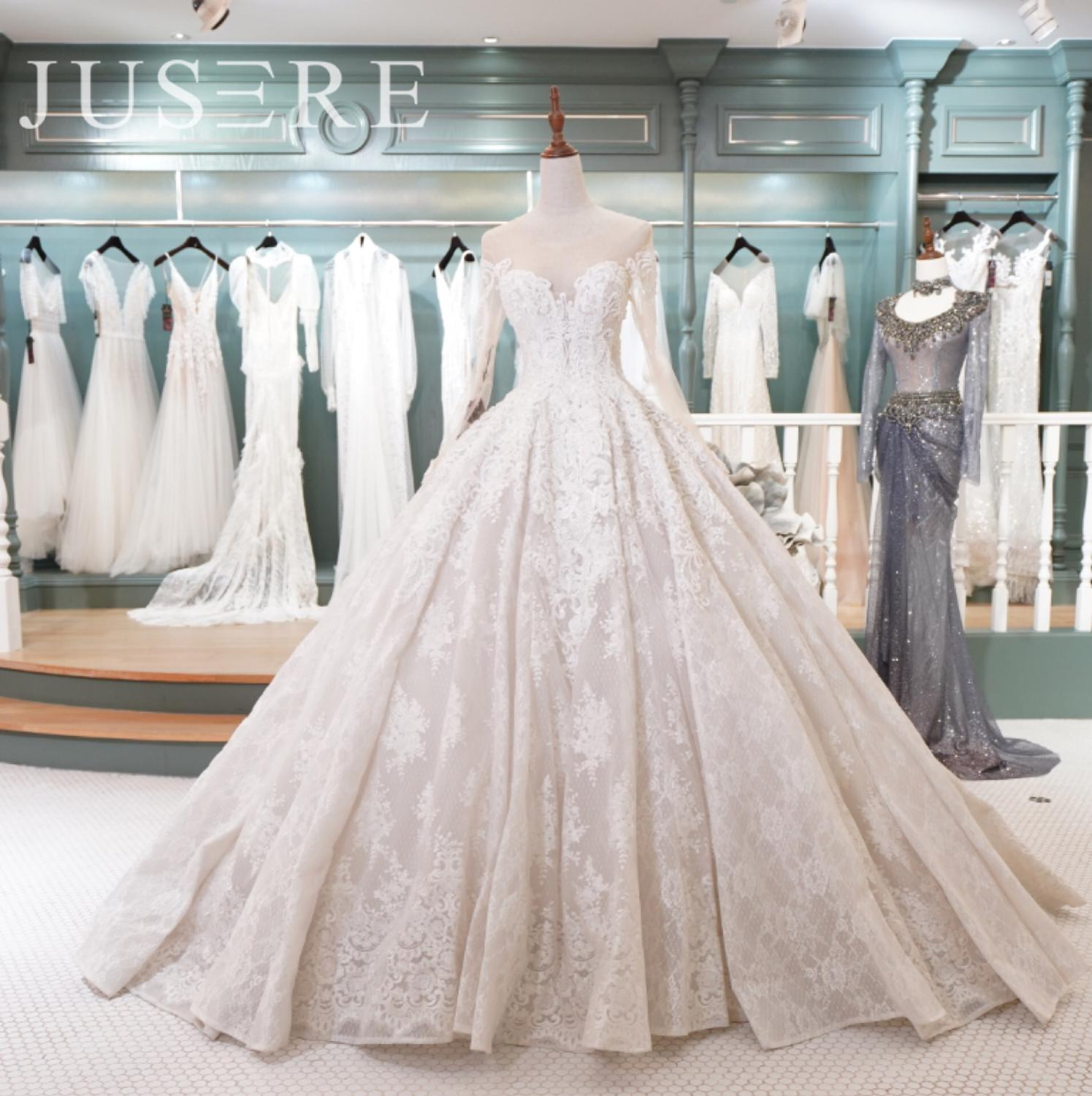 In Stock Puffy Ball Gown  Crystal Pearls Beading Lace Up Back Chapel Train Robe De Mariee Noiva Wedding Dress 2018
