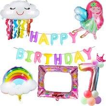 Weigao balões para decoração de arco-íris, balões de letras para festa de arco-íris, adereços fotográficos, folha de fadas, decoração de feliz aniversário, suprimentos para festa de chá de bebê