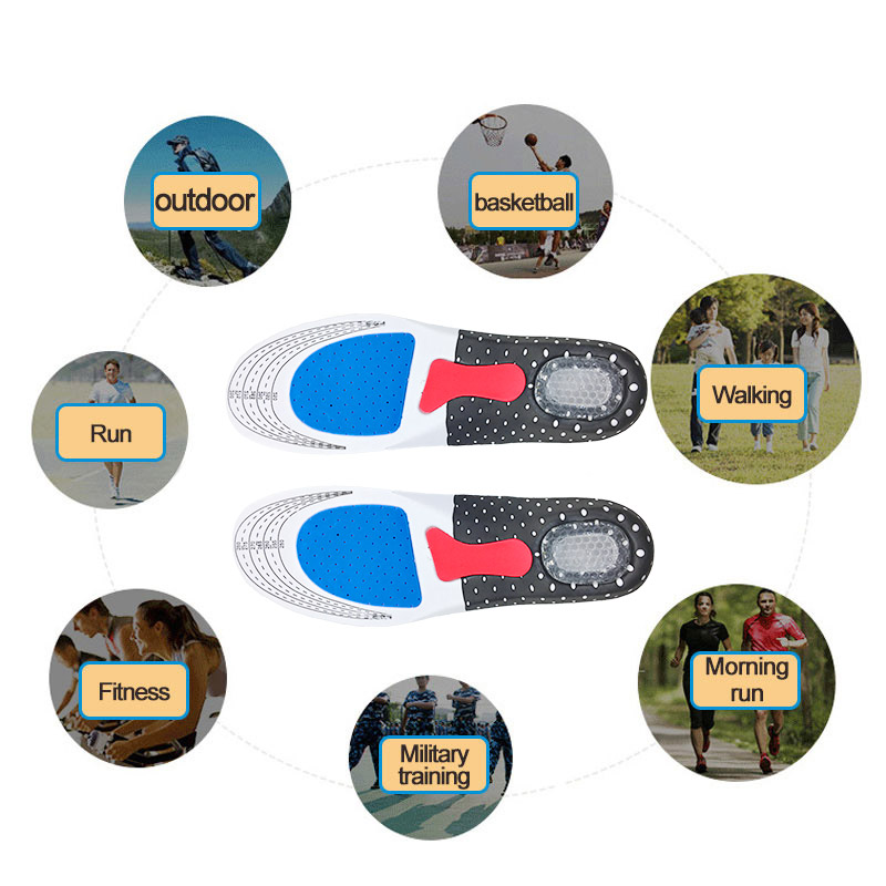 Silicone Gel Insoles Sport Running Insoles for feet Man Women orthopedic pad Massaging Shock Absorption arch support
