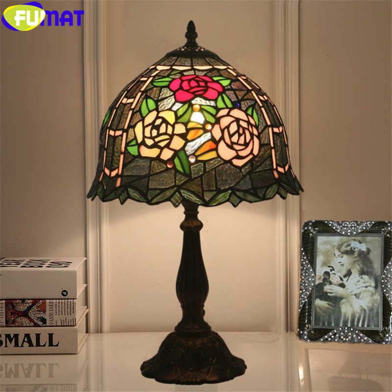 Fumat Tiffany Style Table Lamp Red Pink