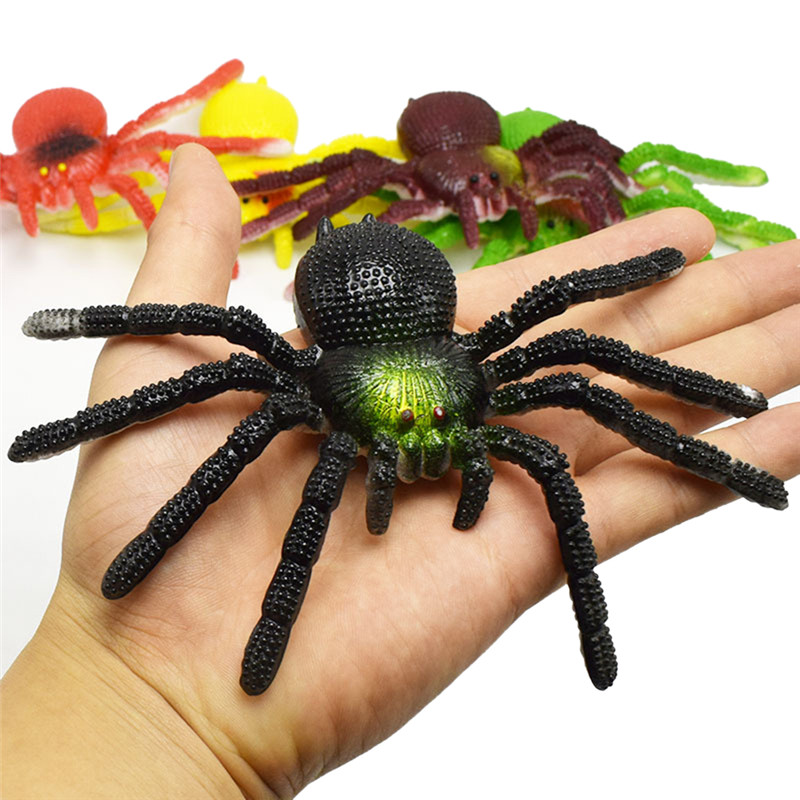 Colorful Simulation Big Spider Insects Model Toys Prank Tricky Scary Toys Halloween Props Children's Model  Toys 15cmx8cm