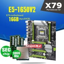 Placa base X79 Turbo LGA2011 ATX, Combos E5 1650 V2, 4 Uds. x 4GB = 16GB, 1866Mhz, PC3, 14900R, PCI E, NVME, M2, SSD, USB 3,0, SATA3