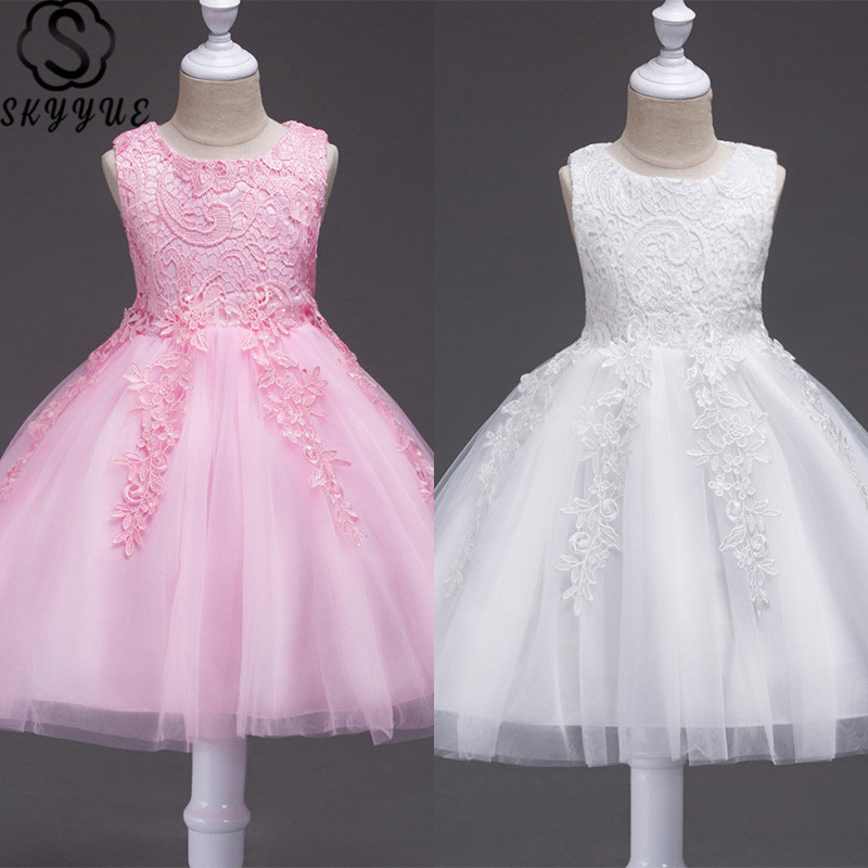 Skyyue Girls Pageant Dresses Sleeveless Solid First Communion Dresses For Girls O-Neck Lace Flower Girl Dresses For Weddings 802