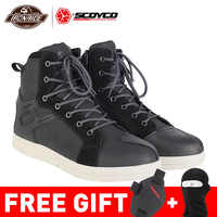 SCOYCO Motorcycle Boots Men Botas Moto Motorcycle Shoes Motocross Boots Protective Touring Riding Boots For Autumn Winter