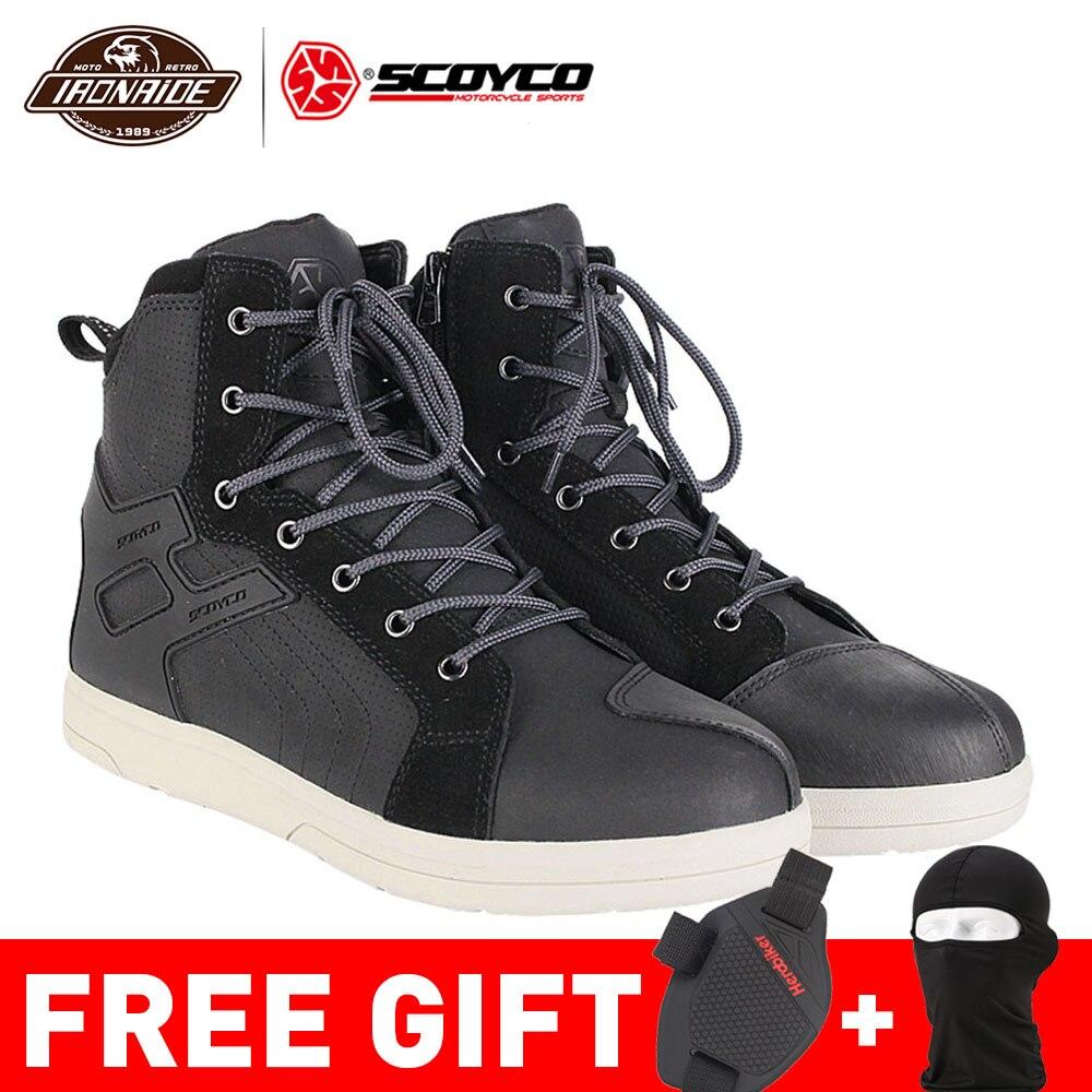 Scoyco botas da motocicleta homens botas de moto sapatos motocross botas de proteção touring equitação para o outono inverno