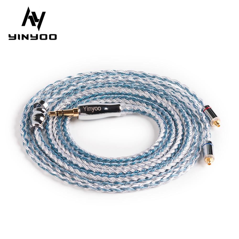 Yinyoo Núcleo Prata Chapeado Cabo 2.5 – 3.5 4.4mm Balanceado Forzsn Zs10 Pro Zsx V90 Blon Bl-03 Bl-05 Bl05 16