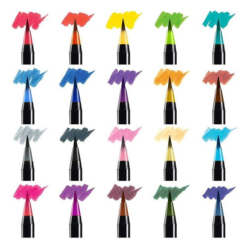 20-черного цвета-стержень акварель кисти (каждый набор содержит 20 цветных акварельных ручка + одна щетка)