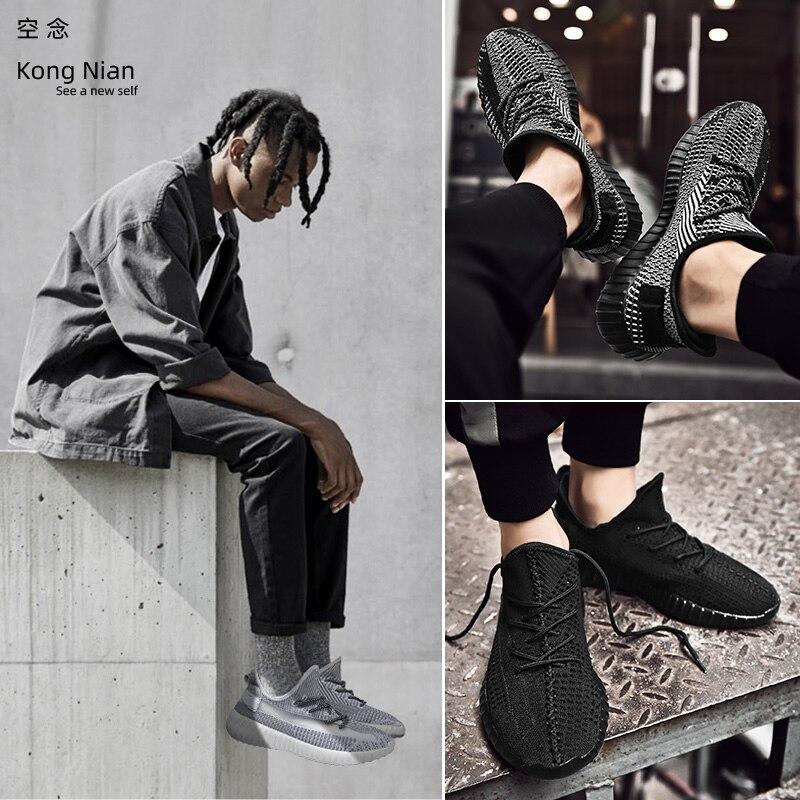 Kong Nian Men Shoes 2019 Adult Breathable Mesh Sneakers Men Casual Shoes Fashion Men Shoes Lace Up Men Sneakers Black Gray Shoes