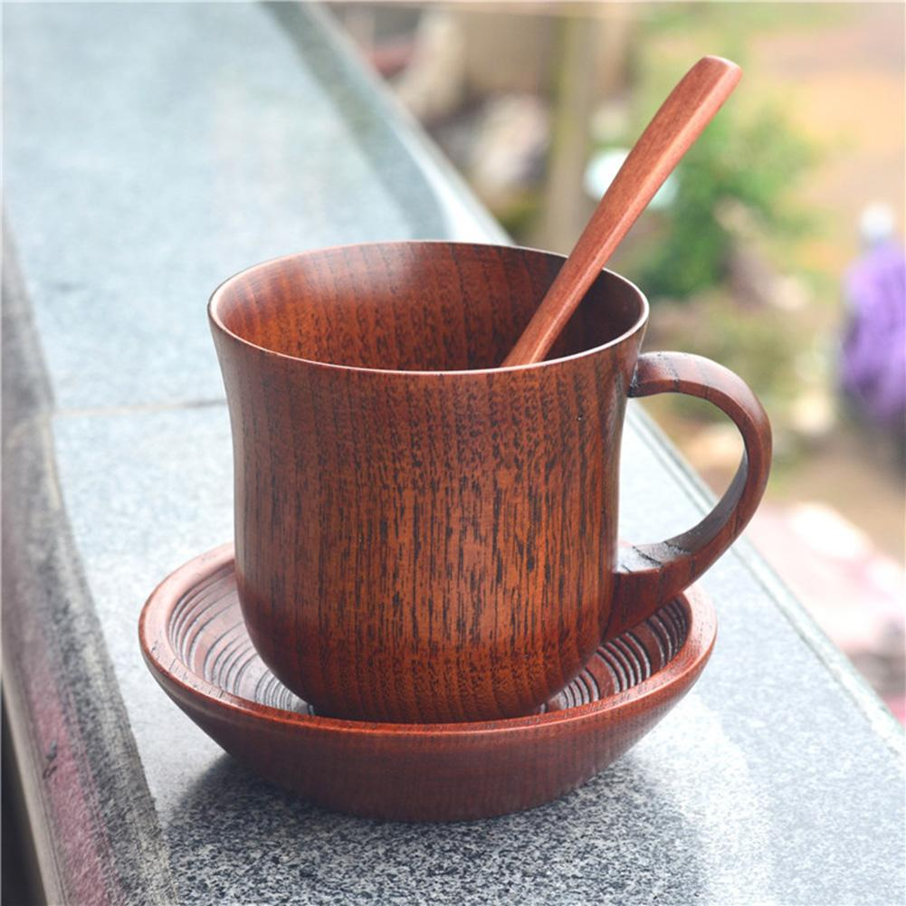 Natural Wooden Cup with Saucer Spoon Handmade Wood Cup for Coffee Tea Beer Milk Water Wood Cups Bar KitchenTools Drinkware Set