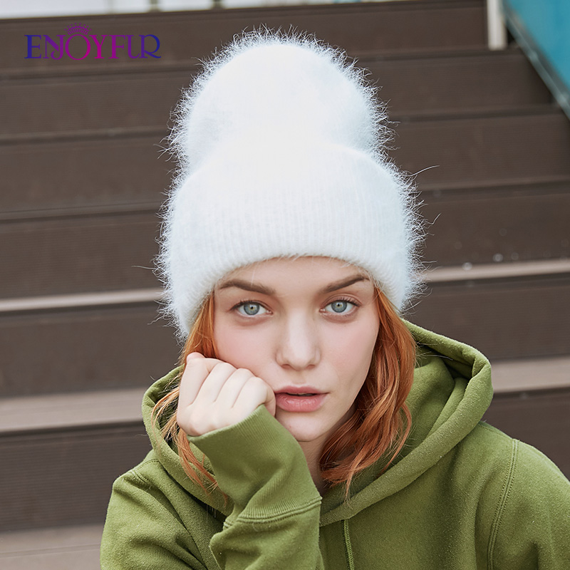ENJOYFUR Winter Hats For Women Warm Long Rabbit Fur Hair Female Caps Fashion Solid Colors Wide Cuff Young Style Beanies