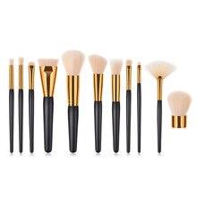 11Pcs Makeup Brushes Set Cosmetic Foundation Powder Blush Eye Shadow Lip Blend Wooden Make Up Brush Tool Kit Maquiagem T11002